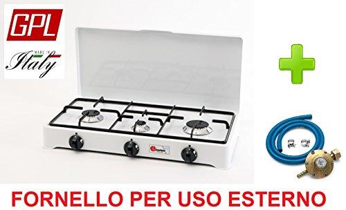 Réchaud de table Parker 2 feux alimentation gaz GPL (gaz dans les bouteilles) usage extérieur 2002 cGP + Kit régulateur Italie