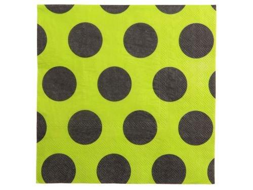 10 Stück Servietten DOTS neon apfelgrün mit schwarzen Punkten, 33 x 33 cm