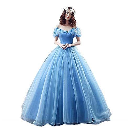 Victory Bridal Wunderschoen Blaues Kurzarm Abendleider Quincenera Ballkleider Lang Promkleider Cinderella -34 Blau (Ballkleid Kleider Korsett)