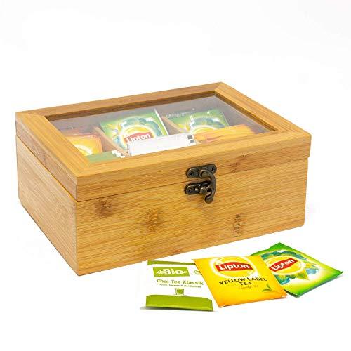 Jonas Caja Infusiones y Tés Madera de Bambú con 6 compartimentos - Organizador de Tés para Guardar y Conservar tus Tés Favoritos - Garantía de Calidad - Dimensiones de la Caja de Tés: 21 x 16 x 9 cm.