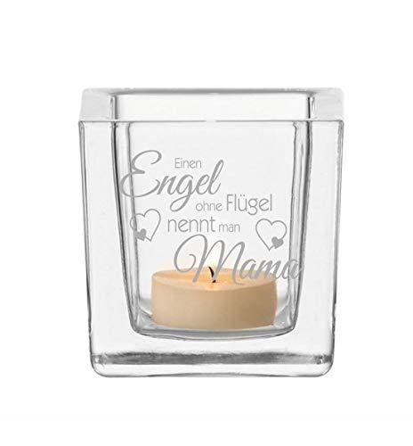 FORYOU24 - Leonardo Teelicht - Engel Ohne Flügel Nennt Man Mama - Teelichthalter Glas mit Gravur - Kerzen Teelichtglas BZW. Windlicht für Mütter u. Muttis zum Muttertag, Weihnachten etc. -