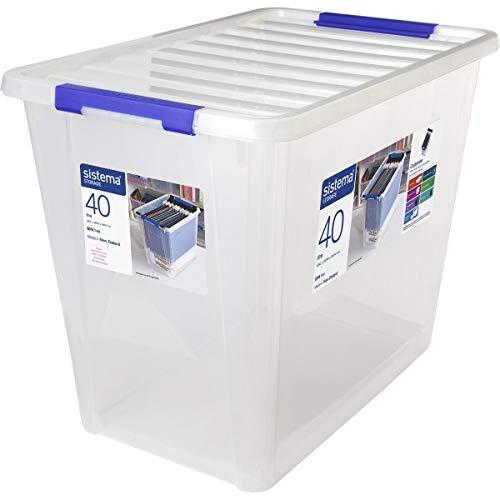 Sistema Storage Large Contenedor Polipropileno, Plástico, Transparente, 40 litros