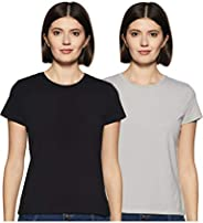 Amazon Brand - Symbol Women's Solid Regular Fit Half Sleeve T-Shirt (Pack o