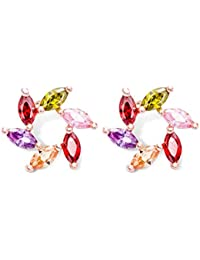Peora Multicolor 18K Rose Gold Plated Marquise Shaped CZ Stud Earring Jewellery For Women And Girls, Engagement...