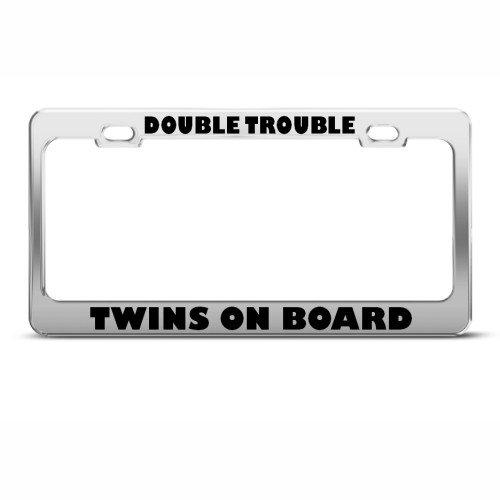 Double Trouble Twins On Board Funny Nummernschild Rahmen Tag Halter von Speedy vor