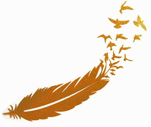 Bügelbild, Motiv: Feder mit Vögeln, Größe: 18cm, Farbe: goldglitzernd, Material: heißsiegelfähige Flexfolie