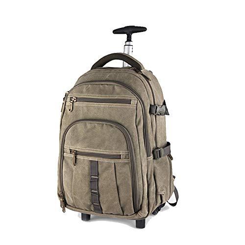 Preisvergleich Produktbild Multifunktions-Trolley-Rucksack,  Vintage Canvas wasserdicht Rolltrolley-Rucksack,  für 14-Zoll-Laptop im Freien Reisestudent College-Schultasche auf Rädern Daypack-22inches