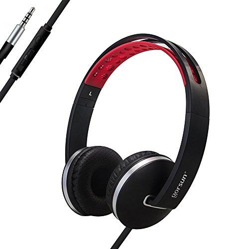 ONTA® gorsun On Ear Kopfhörer Faltbar Leichte Kopfhörer Stereo Sport On Ear Kopfhoerer mit Mikrofon und Lautstärkeregler für iPhone Computer und Laptop - Schwarz