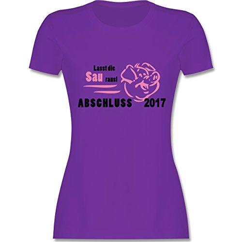 Abi & Abschluss - Lasst die Sau raus - Abschluss 2017 - tailliertes Premium T-Shirt mit Rundhalsausschnitt für Damen Lila