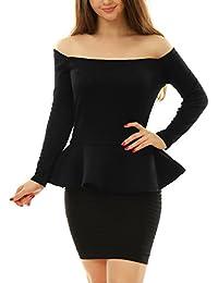 Allegra K Women's Off Shoulder Long Sleeves Slim Fit Peplum Top
