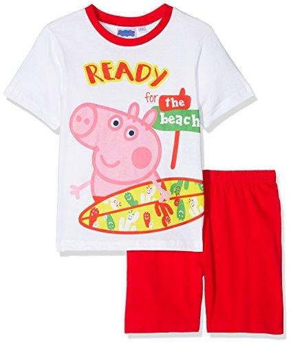 Peppa Pig Jungen Schlafanzug Kurz (Weiß, 104)