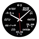 ZOUQILAI Modernes Design Math Clock Einzigartige Wanduhr Neuheit Maths Gleichung Uhr Jede Stunde markiert durch eine einfache Math Gleichung (schwarz)