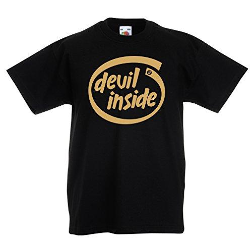Camisas para niños Devil Inside: Regalo Genial para el Jugador, Lema Divertido, Material de Juego (9-11 Years Negro Oro)