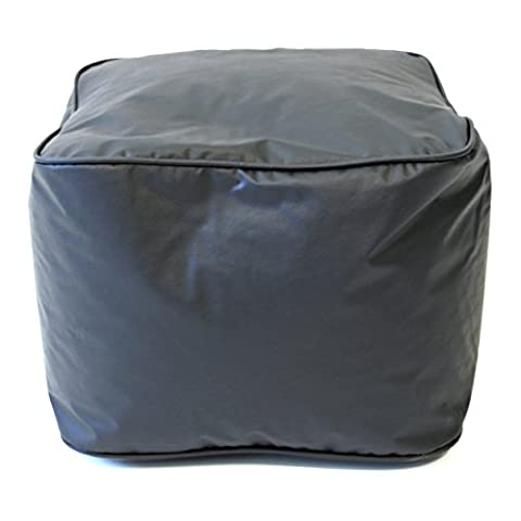 Gold Medal Leather Look Vinyl Ottoman, Small, Ebony by Gold