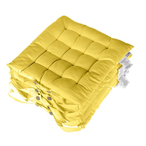 Homescapes Yellow Seat Pads for Dining Chair, Set of 4 100% Cotton Chair Pads with Straps, 40x40 cm