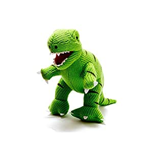 Knitted Dinosaur T Rex Soft Toy. Suitable From Birth.