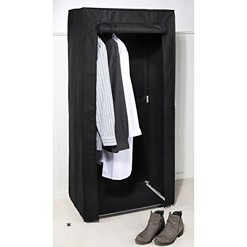 #0618 Kleiderschrank mit schwarzem Vliesstoff und Reißverschlüssen 70x46x148 cm • Textilschrank Stoffschrank Campingschrank Stoff Faltschrank