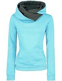FANTIGO Damen Umlegekragen Kapuzenpullover Sweatshirt Mit Kapuze Slim Fit Langarm  Pullover Herbst Winter 8228f93d81