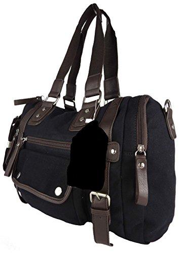 viele Fächer, Schulter-Trageriemen, ideal auch als Wickeltasche 43x30x13cm (schwarz) (Große Stofftaschen)