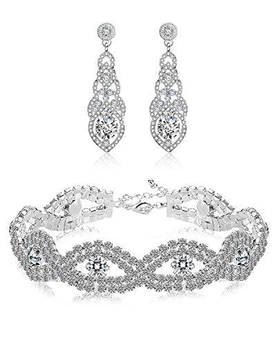 9ad5260bfcbe Finrezio Conjunto De Joyas De Novia Cristales Conjunto De Pulseras Y  Pendientes Colgantes