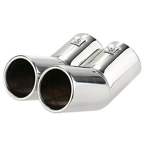 KKmoon Dual Pipes Edelstahl Auspuff Schwanz Rohre Schalldämpfer Tipps für VW Golf 4 Bora Jetta