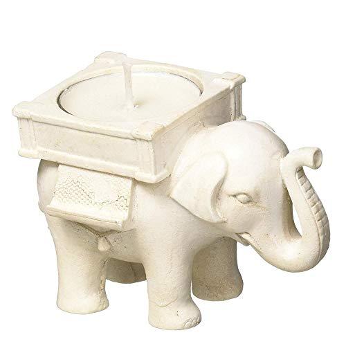 Aolvo Elephant Portavelas de buena suerte, diseño de elefante, color marfil envejecido,...