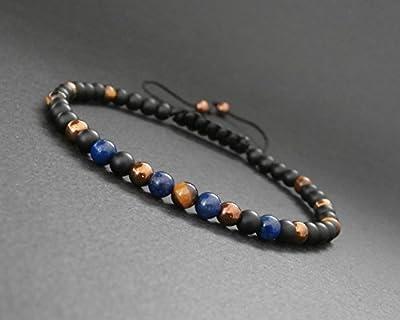 Bracelet fin homme pierres naturelles œil de tigre lapis lazuli, hématite cuivrée et onyx