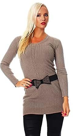 5305 Fashion4Young Damen Strick Minikleid LongPullover Pullover Pulli Kleid mit Gürtel in 6 Farben (34/36, Cinder)