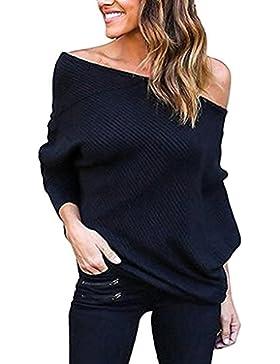 [Patrocinado]Tomwell Mujeres Atractivas Murciélago Mangas Largas Jersey Suéter Prendas de Punto Moda Ocasional Sin Tirantes...