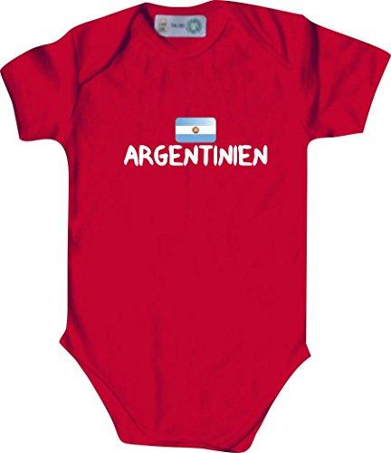 Unbekannt Cooler WM Länder Baby Body mit Flagge/ARGENTINIEN/Farbe: Rot/Größe: 62-68 (3-6 Monate)