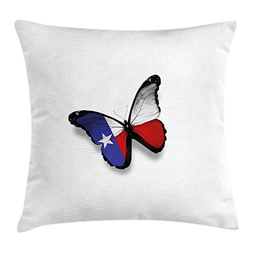 Texas Throw Pillow Cushion Cover, Texas Flag Butterfly American USA State Wings of Freedom and Independence, Decorative Square Accent Pillow Case, 18 X 18 inches, Royal Blue Red Black Red Wing-magnolia