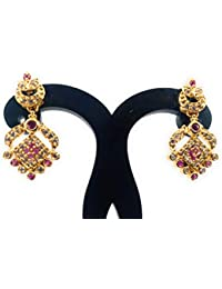 c49ef50f1 SUKRA GOLD 1 Gram Micro Gold Plated Swarovski Crystals Collection Ruby  White Stone Stud Earring for