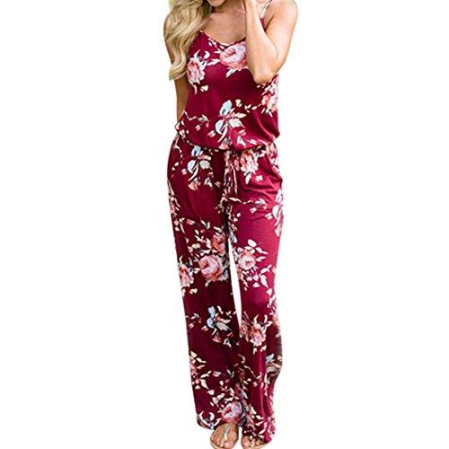 MOIKA Damen Jumpsuits, New Boho Frauen Floral Sleeveless Urlaub lange Playsuits Strampler Overall(XL,Weinrot)