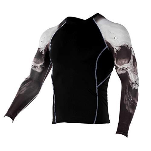 Fenverk Herren Kompressionsshirt Langarmshirt Funktionsshirts Top Fitness Kompressions-Shirt LangäRmlig Langarm Sport Laufshirt Atmungsaktiv Sportshirt Running Jogging Yoga(F-27,M)