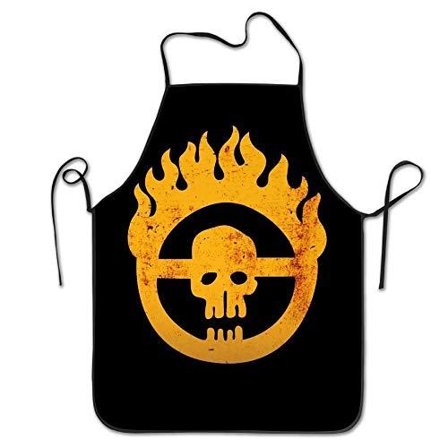 Kostüm Ihren Halten Eigenen Kopf Sie - Feuer Schädel langlebig einstellbar waschbar Küche Overlock Schürzen Mutter Geschenk Kochen Backen Restaurant Unisex