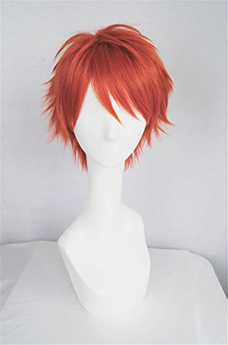 LanTing Cosplay Perücke Mystic Messenger 707 Red Perücke Corta Cosplay Party Fashion Anime Human Costume Full wigs Synthetic Haar Heat Resistant ()