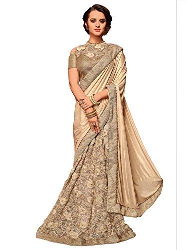 Indian Women beige color Net & jacquard border lehenga saree