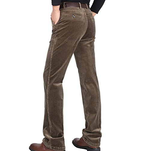 ZKOO Homme Classique Pantalons en Velours Cotelé Hiver Pantalon Droit Coton Pantalon d'affaires Automne et Hiver (Sans Ceinture) Kaki