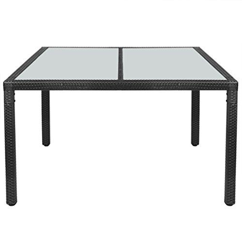 Festnight Table de jardin Résine tressée 150 x 90 x 75 cm Noir