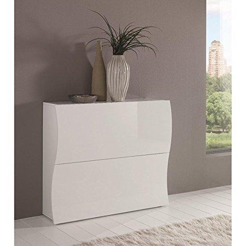 Scarpiera onda moderna 2 ante legno bianco lucido