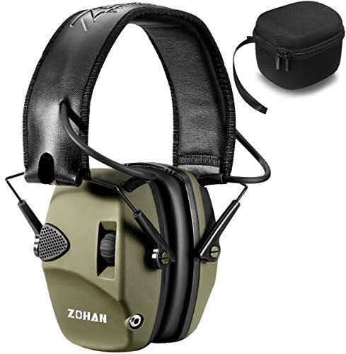 ZOHAN Elektronischer Gehörschutz für Jagd Schiessen, Lärmdämpfung Klangverstärkung Ohrenschützer mit Tragetasche, NRR22dB SNR 27dB (Grün) MEHRWEG