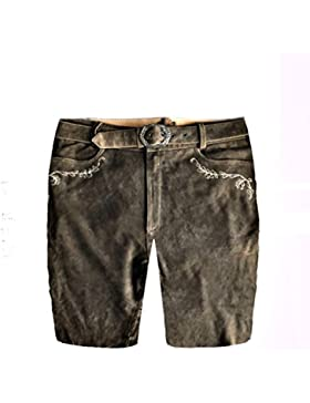 Herren Trachten Lederhose Trachtenlederhose Kurze Tracht Braun +Gürtel Gr.50#10