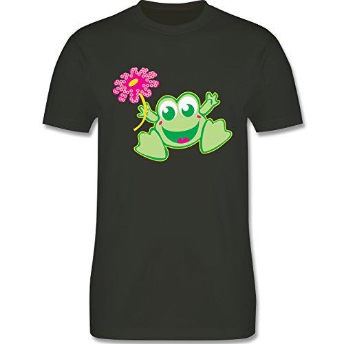 Blumen & Pflanzen - Frosch mit Blume - Herren Premium T-Shirt Army Grün