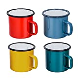 TeamFar - Lot de 4 tasses à thé et café en émail pour la maison, le bureau, la fête ou le camping, peinture colorée (rouge/bleu/vert/jaune) 350 ml...
