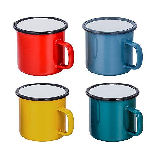 TEAMFAR Emaille Tasse 4er-Set, Mehrweg Kaffee-/Tee-/Trinkbecher, Rot/Blau/Grün/Gelb Porzellan Kaffeetassen Teetassen für Daheim, Party, Büro, oder Camping, Tragbar & Leicht, 4-Stück, 350 ml