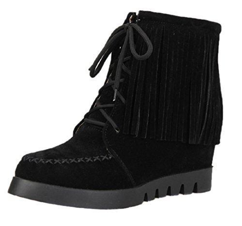 HooH Femmes Flanelle Gland Height Increasing Bottes 8-81 Noir