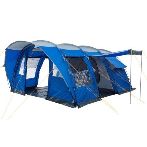 CampFeuer Campingzelt für 5 Personen | Großes Familienzelt mit 3 Eingängen und 3.000 mm Wassersäule | Tunnelzelt | blau / silber | Gruppenzelt