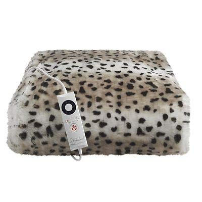 Leopard Print Faux Fur Heated Throw 120 x 160cm Best Price and Cheapest