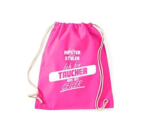 Shirtstown Turnbeutel du bist hipster du bist styler ich bin Taucher das ist geiler pink