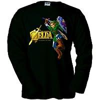 Camiseta Zelda Ocarina Of Time (Gold) Negra manga larga (Talla: 11-12 años)